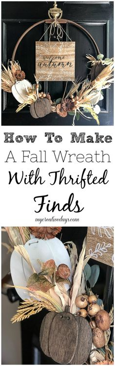 Wreaths are a great way to welcome a new season. This tutorial on how to make a fall wreath will show you how to make a fall wreath with thrifted finds. #wreath #falldecor #fall #homedecorinspo