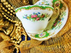 EB FOLEY TEA CUP AND SAUCER ~BROADWAY~ WHITE GREEN CARTOUCHE FLORAL CHELSEA