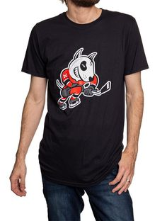 "Officially Licensed Niagara IceDogs Merchandise Cotton Bones mascot front print ""Ice Dogs"" back print Perfect on its own or with a long sleeve shirt underneath in the arena Bones, Long Sleeve Shirts, Nhl, Sleeves, Cotton, Mens Tops, T Shirt, Clothes, Black"