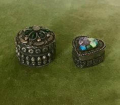 Pair of Ornate Ring Boxes. Ring Boxes, Lace Table, Decorative Metal, Brown Leather Purses, Purple Velvet, Handmade Items, Handmade Gifts, Vintage Home Decor