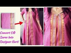 DIY Designer Kurti Cutting and Stitching From Old Saree Kurta Neck Design, Saree Blouse Neck Designs, Dress Neck Designs, Blouse Designs, Kurta Designs Women, Salwar Designs, Kurti Patterns, Dress Patterns, Chudidhar Designs