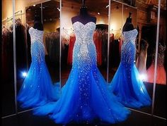 Fully Beading Tulle Long Mermaid Formal Evening Dress Prom Pageant Wedding Dress