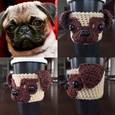 Crochet Pattern - Pug Mug Cozy, Crochet Dog Pattern, Cup Cozy Pattern