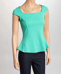 Mon Ami Mint Waffle Print Cap-Sleeve Top & Necklace by Mon Ami #zulily #zulilyfinds