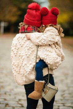 Mommy & Me in Pom Pom Heart Cardigans Paired with Plaid + Last Minute Gifts on Prime Mom Daughter Matching Outfits, Mother Daughter Outfits, Mommy And Me Outfits, Kids Outfits, Cute Outfits, Baby Girl Fashion, Toddler Fashion, Kids Fashion, Style