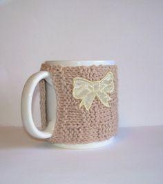 Knitted Mug Cozy  Tan Checkered with Yellow Bow by KatysKnitKnacks, $7.00