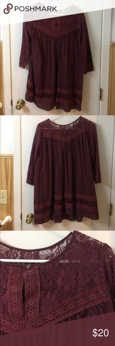 Tunic Maroon tunic with lace sleeves and detail. EUC only worn twice. Tops Tunics