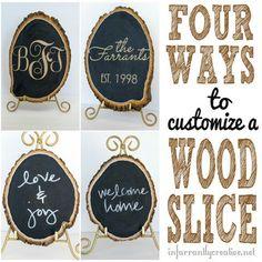 DIY Craft | Chalkboard Wood Slab 4 ways | Monogrammed & Glittered