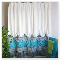 Different Shower Curtain: DIY Tutorial - made of bed sheets . . . loving this idea and style though for regular curtains for the girls' room