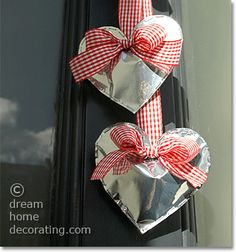 front door decoration with silver valentine hearts, made from coffee bags