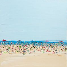 """ARTFINDER: Beach Life - A Crowded Afternoon by Emma Bell - Beach Life - A Crowded Afternoon 24""""x24"""" oil on canvas with palette knife wet on wet lots of texture painted on a gallery wrapped museum quality canvas wi..."""