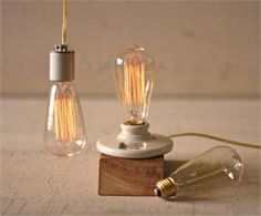 Vintage Edison Light Bulb, maybe spray paint a keyless fixture like the one shown and leave it as a ceiling mounted fixture in a hallway or closet...