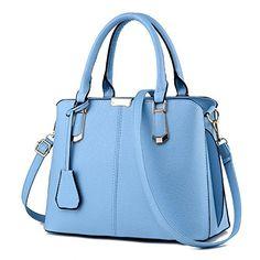 Bidear Women PU Leather Top-handle Handbag Shoulder Handbags Tote Purse Bag  with Removable Long Strap d39d1057fde22