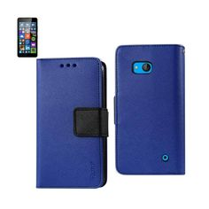 Reiko Wallet Case 3 In 1 For Nokia Lumia 640 Lte/ Microsoft Lumia 640 Navy With Interior Leather-Like & Polymer Cover