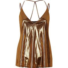 f1fba6b30a River Island Metallic brown strappy cami top ( 12) ❤ liked on Polyvore  featuring tops