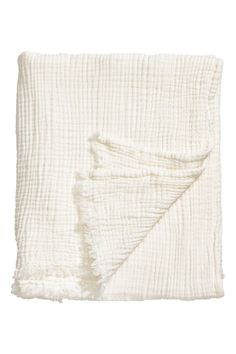 Crinkled Cotton Throw | White | H&M HOME | H&M US