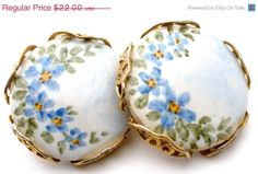 Spring Sale Hand Painted Blue Flower by TheJewelryLadysStore, $17.60