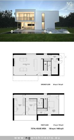 Modern house project Boss designed by NG architect. - - Modern house project Boss designed by NG architect… – - Modern House Floor Plans, Small House Plans, Modern Architecture House, Architecture Plan, Modern Villa Design, Minimalist House Design, Home Design Plans, House Layouts, Building A House