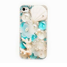 Handmade Bling Bling Shell Coral Crystal diamond case cover for iphone5 iphone4 and 4S