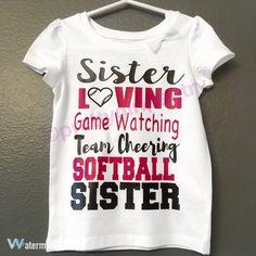 Softball Sister/Brother by PrettyGirlPantry on Etsy Softball Tournaments, Softball Mom Shirts, Baseball Sister, Softball Jerseys, Baseball Tournament, Sister Shirts, Softball Stuff, Tie Die Shirts, Swim Mom