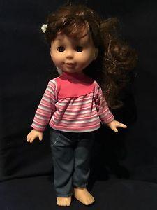 "Preteen Girl Doll 12"" In Jeans And Tee Auburn Brown Hair Cute  | eBay"