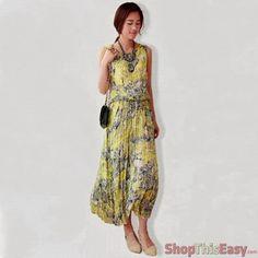 Sweet Bohemian Crumpled Maxi Dress