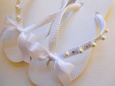 Bridal flip flops  Decorated White bridal flip by AdrianaDosSantos,