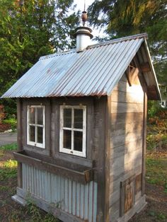 Looking for some coop inspiration before the Spring hits? This coop creator takes the old and makes it new with his coops made form refurbished materials. Do you have a creative coop? Chicken Coop Designs, Chicken Coop Plans, Chicken Tractors, Rustic Shed, Chicken Coup, Chicken Shack, Chicken Pasta, Pump House, Tool Sheds