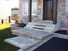 50 Brilliant Staircase Front Door Ideas More info, you can go directly to the website Front Door Steps, Front Stairs, Front Entry, Driveway Design, Front Yard Design, Front Door Landscaping, Front Walkway, Patio Plan, Staircase Design
