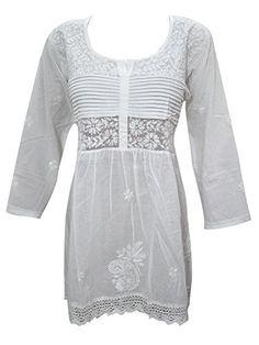 Women's Tunic Top White Cotton Embroidered Gypsy Blouse Top Mogul Interior http://www.amazon.com/dp/B013QNHQ0O/ref=cm_sw_r_pi_dp_1m4swb09VBSET