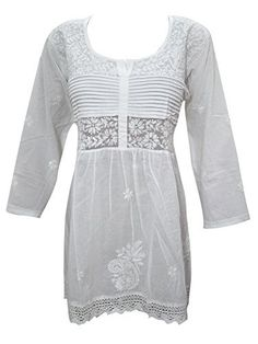 Women's Tunic Top White Cotton Embroidered Gypsy Blouse Top Mogul Interior http://www.amazon.com/dp/B013QNHQ0O/ref=cm_sw_r_pi_dp_1m4swb09VBSET