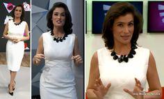 Vestido branco da Renata Vasconcellos no Fantástico dia 27 de abril