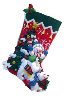 Finished Bucilla Christmas Stocking  Snowman by PinsandNeedles0, $74.95
