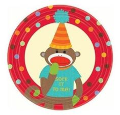Sock Monkey Party Dessert Plate 8ct