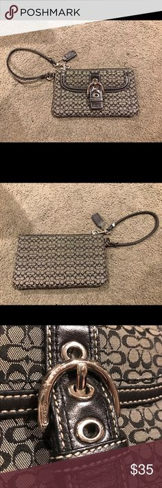 BLACK AND GRAY COACH WRISTLET!! Coach black and gray wristlet! Has some wear and tear (see pictures) but still has tons of life left! 🖤🖤 Coach Bags Clutches & Wristlets