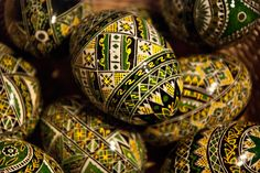 Modern green and yellow Romanian Easter eggs from Bucovina