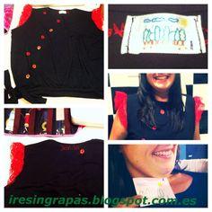Camiseta negra con puntilla roja y mariquitas Irene, Crop Tops, Women, Fashion, Red, Black People, Black T Shirt, Crafts To Make, Ladybugs