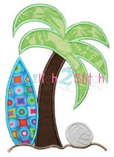 Surf Palm Applique Design For Machine Embroidery by Applique Templates, Applique Patterns, Applique Quilts, Applique Designs, Embroidery Applique, Machine Embroidery Designs, Sewing Crafts, Sewing Projects, Beach Quilt