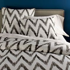 I love the Organic Chevron Duvet Cover + Shams on westelm.com    this color blue is exactly like what we just painted our master bedroom....