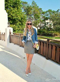 White pointy heels, Gray textured skirt, White &blue butterfly-print blouse, Ligthwash Denim jacket, Black &Yellow shoulder strap bag, Black sunnies