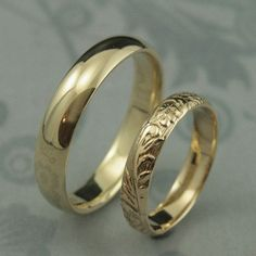 Yellow Gold Wedding Band Set--Comfort Fit Band and Floral Band--Solid Gold His and Hers Bands--14K Gold Wedding Rings