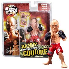 """Round 5 Year 2007 Series 1 World of MMA Champions 6 Inch Tall Action Figure - RANDY """"The Natural"""" COUTURE in Red Trunks"""