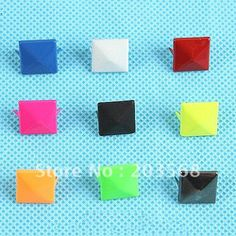 450PCS/LOT 12mm Pyramid Spike, Rivet Stud, Punk DIY Rock ,Leather Craft Biker/ Nailhead 9 COLOR TO CHOOSE(China (Mainland))