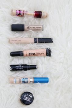 7 of the best drugstore concealers! All are great for different things - under eyes, highlighting, blemishes, and color correcting.