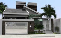 Jaqueline Petter: Projeto - Parra Santos Engenharia - www.parrasantos.com.br Bungalow House Plans, Modern House Plans, Modern House Design, Compound Wall Design, Industrial Interiors, House Numbers, Little Houses, Minimalist Home, My House