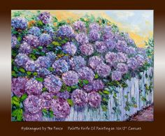 """Hydrangea Flower Blooming on Fence Original Oil Painting Palette Knife Impasto Textured Impressionist Wall Art on 16x12"""" Canvas"""