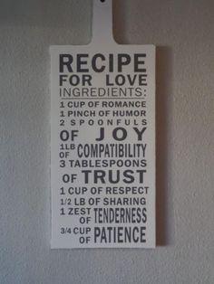 Tekstbord / broodplank Recipe for Love