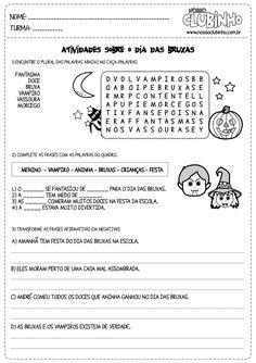 Atividades para o halloween alfabetização