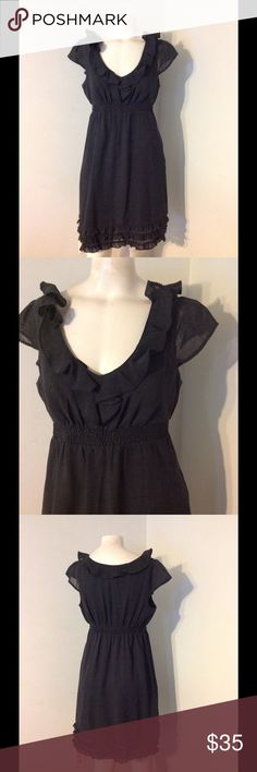 Anthro Maeve Ruffle Trim Dress 6 Very nice Maeve dress. Dark grey with ruffle trim. Elastic higher waist. Made of poly/wool and lined in acetate. Size 6. Great condition. Anthropologie Dresses