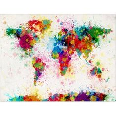 Map of the World made from paint splashes, art print and canvas print on artpause.com, 11 x 14 inch print £6.99